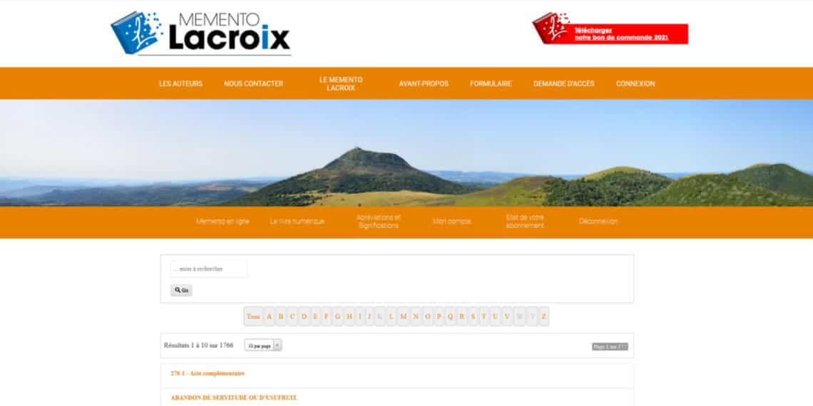 Site extranet Memento Lacroix